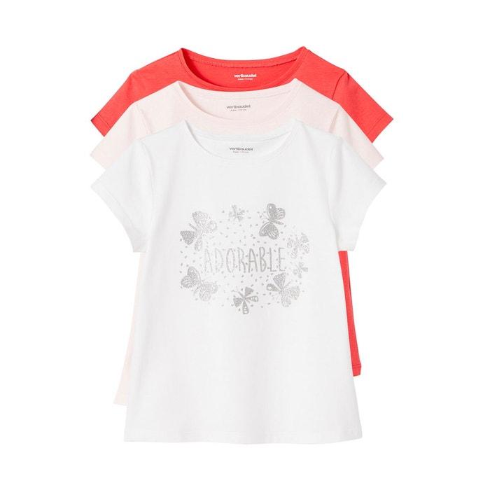 39b765ea2769c Lot de 3 t-shirts fille manches courtes Vertbaudet