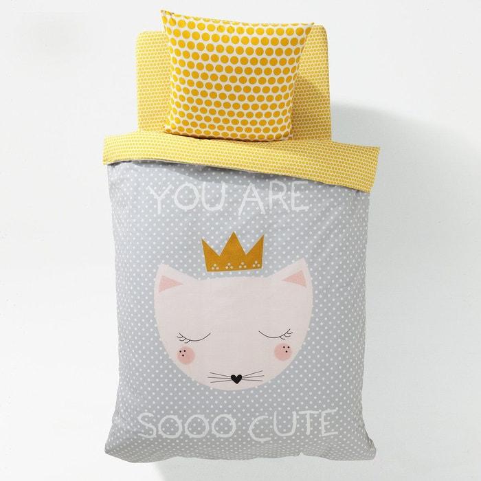Housse de couette imprim e fille chat cute la redoute - La redoute fr linge de maison ...