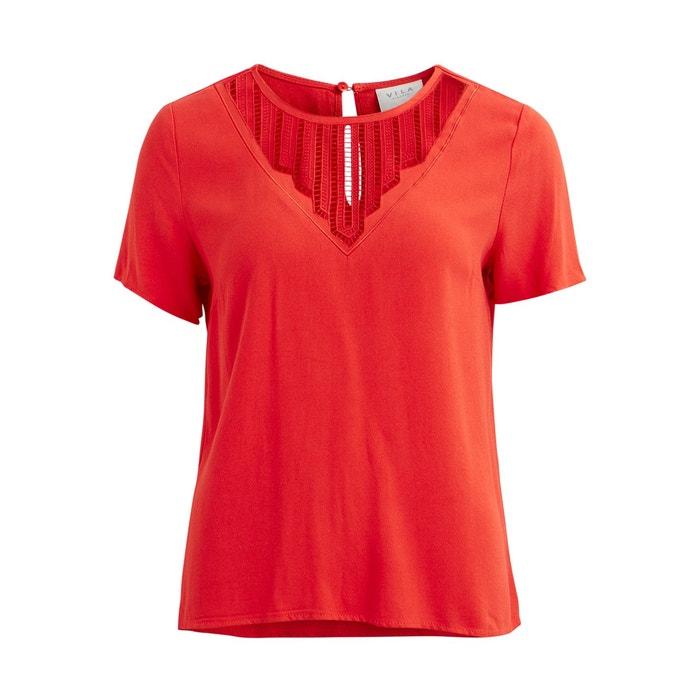 3c361e3dde10cb Vibeauty lace short-sleeved v-neck blouse , red, Vila | La Redoute