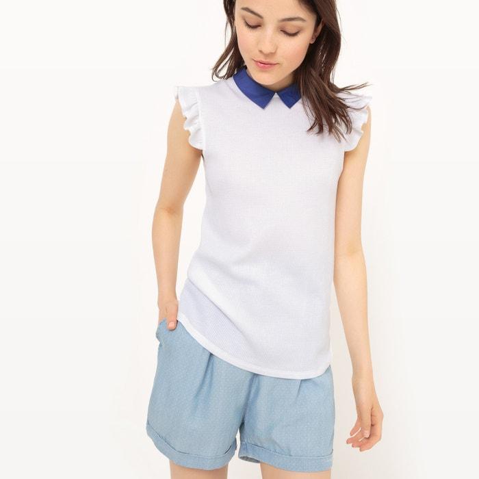 afbeelding T-shirt zonder mouwen, hals in fantasie tricot MADEMOISELLE R
