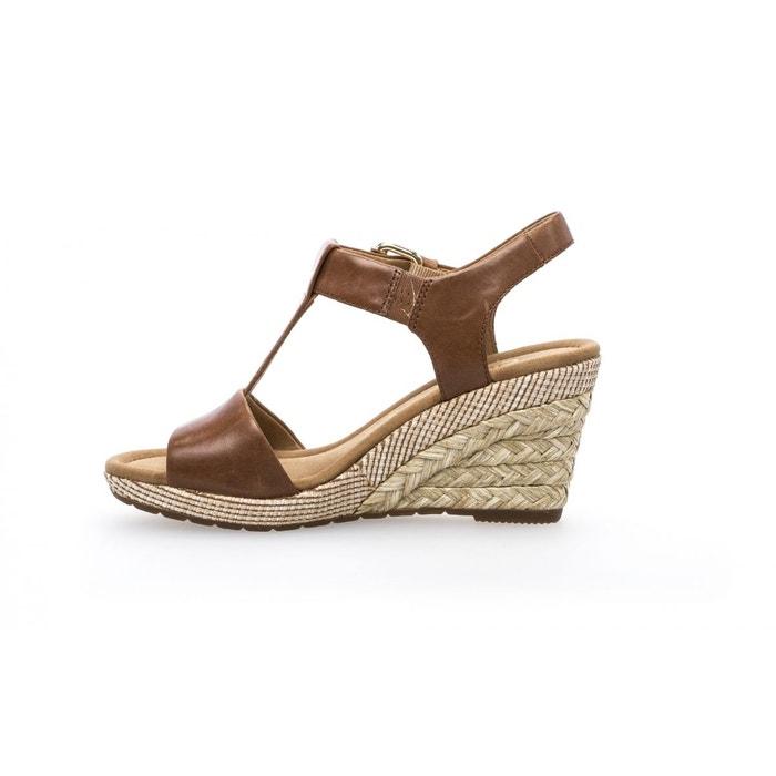 Sandales compensées beiges et or Gabor