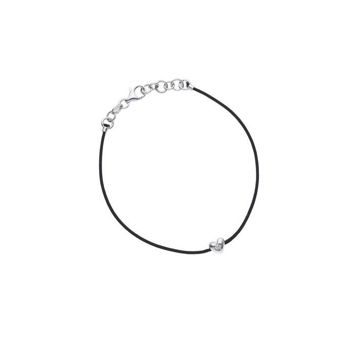 Bracelet lien nylon tressé de couleur noire orné d'un coeur serti d'un véritable diamant noire Nova Diamonds | La Redoute La Fourniture Kt79gHU