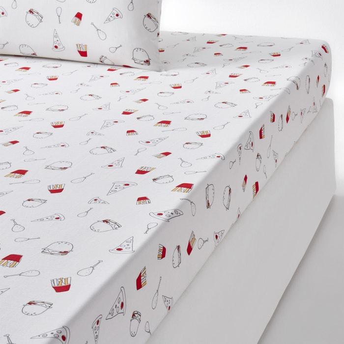 drap housse imprim burgers la redoute interieurs la. Black Bedroom Furniture Sets. Home Design Ideas