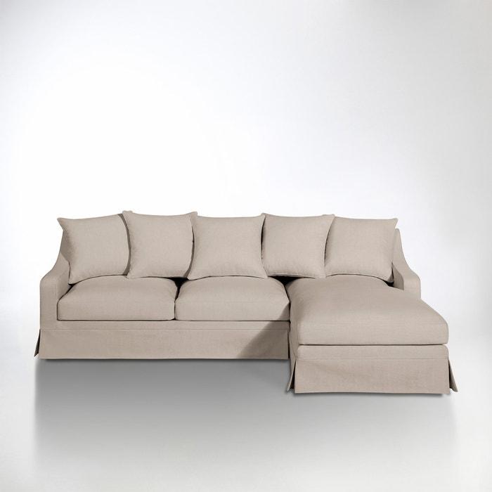 afbeelding Hoekcanapé in katoen/linnen, omvormbaar, uitstekend comfort, Evender La Redoute Interieurs