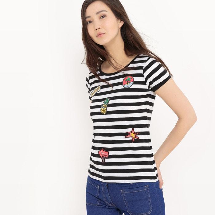 Image T-shirt manches courtes rayé avec badges La Redoute Collections