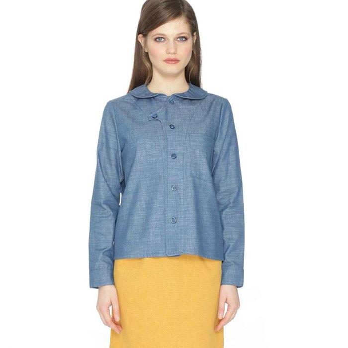 chemise col claudine uni manches longues bleu chambray pepaloves la redoute. Black Bedroom Furniture Sets. Home Design Ideas