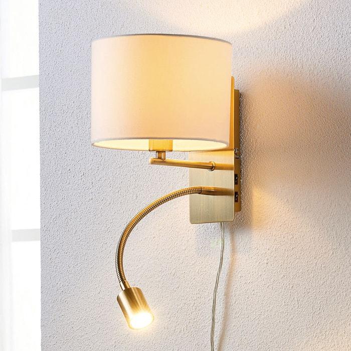 applique tissu florens avec bras flexible led blanc laiton ancien lampenwelt la redoute. Black Bedroom Furniture Sets. Home Design Ideas