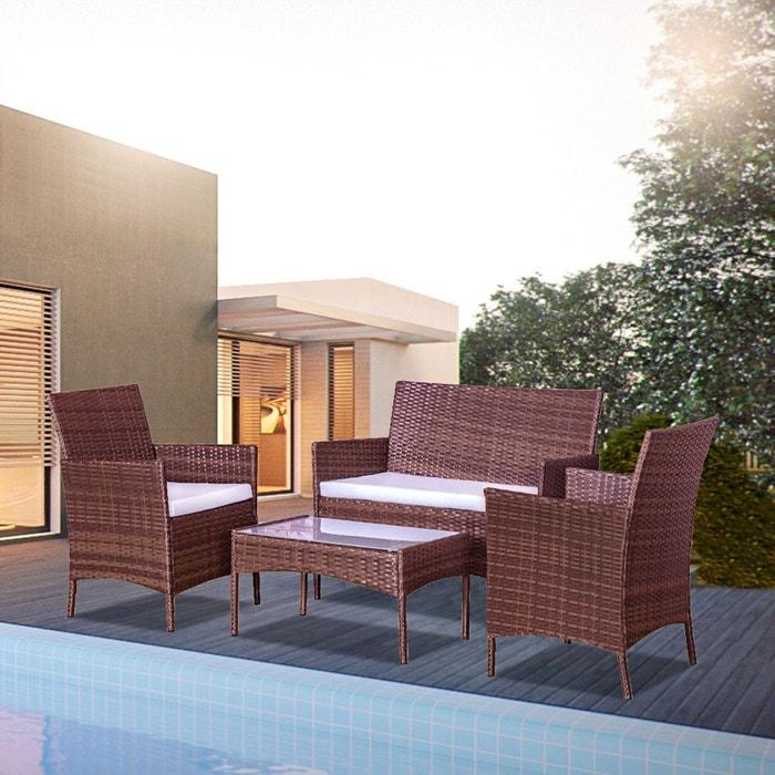 Mykonos marron/blanc : salon de jardin 4 places en résine tressée ...