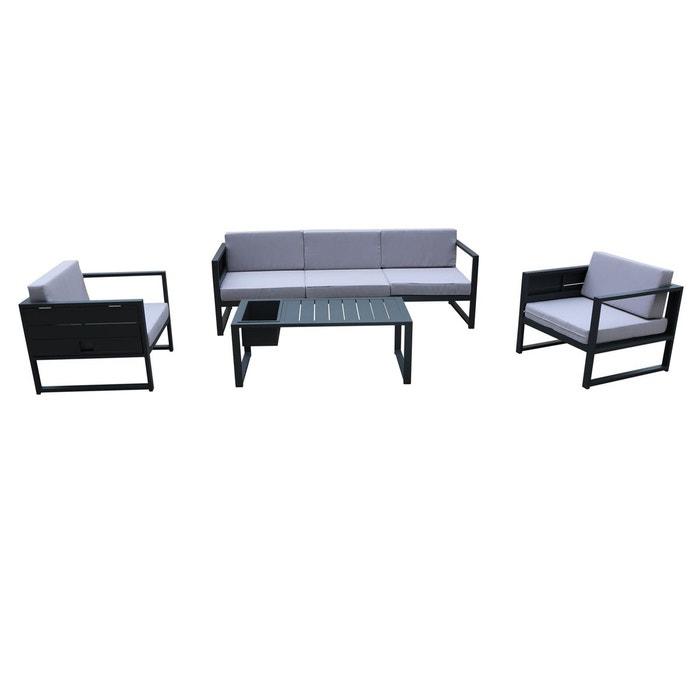 Salon de jardin 5 places en aluminium gris anthracite et coussins gris  canapé 3 places + 2 fauteuils + table basse SUN