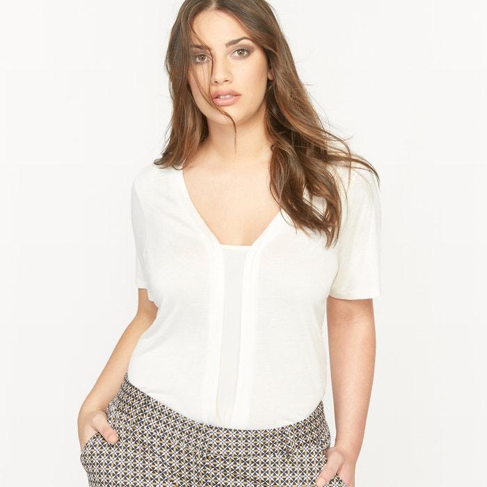 Short-Sleeved Dual Fabric T-Shirt  CASTALUNA PLUS SIZE image 0