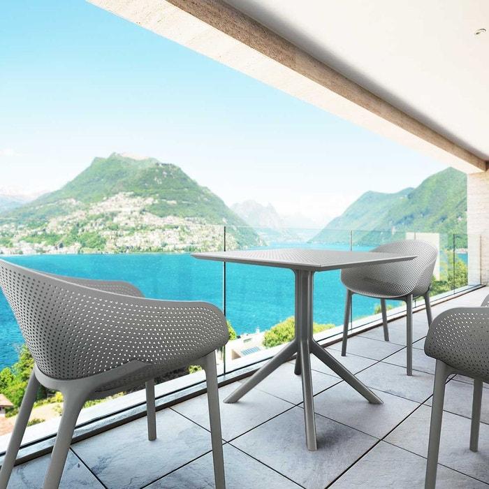 Salon de jardin en polypropylène gris 4 fauteuils et 1 table carrée ...