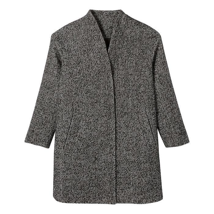 Manteau mi long sans col motif à chevrons