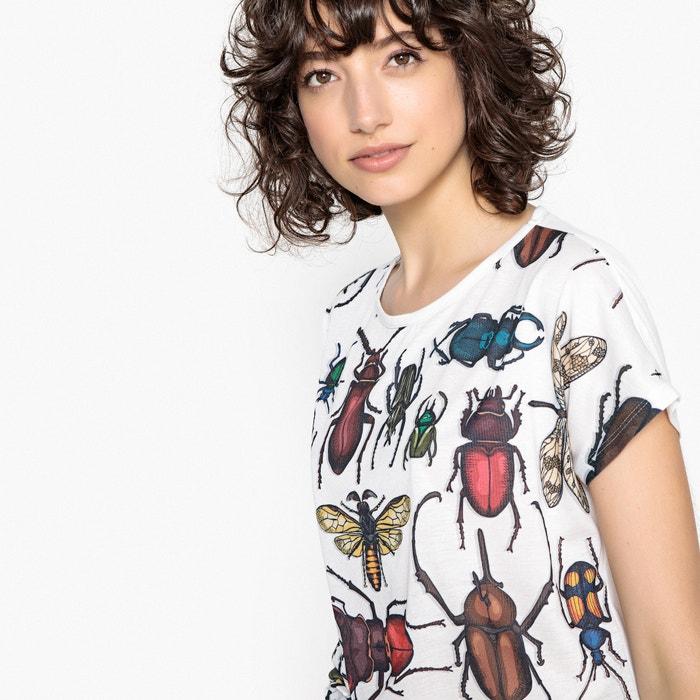 T-shirt scollo rotondo maniche corte fantasia scarabeo  La Redoute Collections image 0