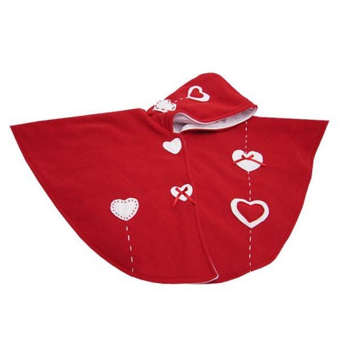 cape b b polaire rouge coeurs 12 24 mois rouge poussin bleu la redoute. Black Bedroom Furniture Sets. Home Design Ideas