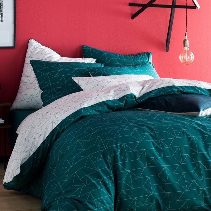 housse de couette percale 80 fils imprim graphique vert paon et blanc vert paon blanc blanc. Black Bedroom Furniture Sets. Home Design Ideas