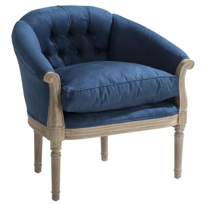 Fauteuil cabriolet capitonn microfibres bleu maryline 2 bleu pier import l - La redoute fauteuil cabriolet ...