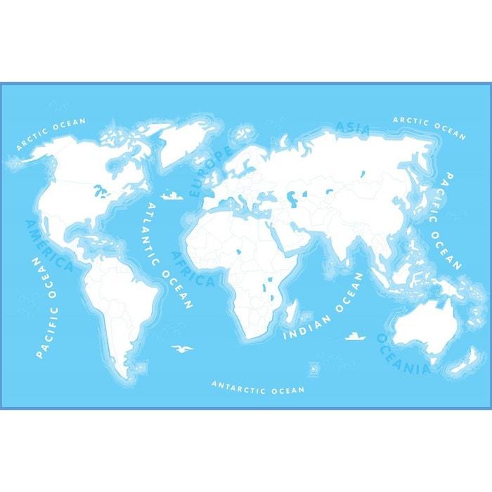 papier peint g ant carte du monde colorier blanc bleu. Black Bedroom Furniture Sets. Home Design Ideas