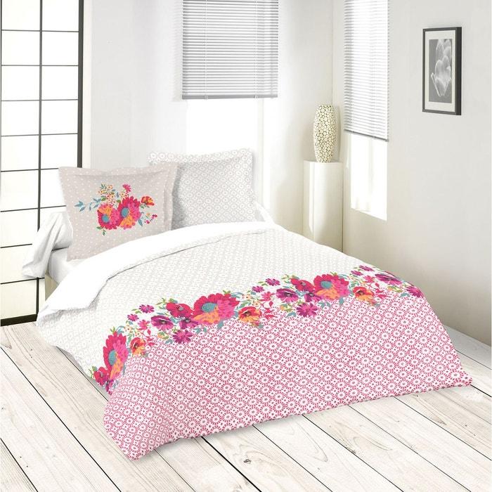 parure de couette imprim e guirlande florale fuchsia home maison la redoute. Black Bedroom Furniture Sets. Home Design Ideas