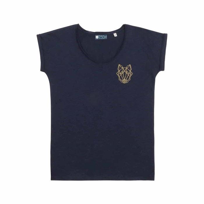 T-shirt Femme en coton biologique bleu LOUPP