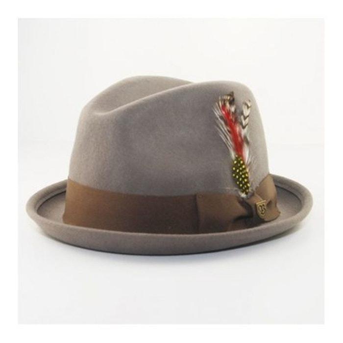 Chapeau fedora gain avec plume gris Brixton | La Redoute Livraison Gratuite À Faible Frais D'expédition Sast Pas Cher Prédédouanement Ordre 4Rdo09L