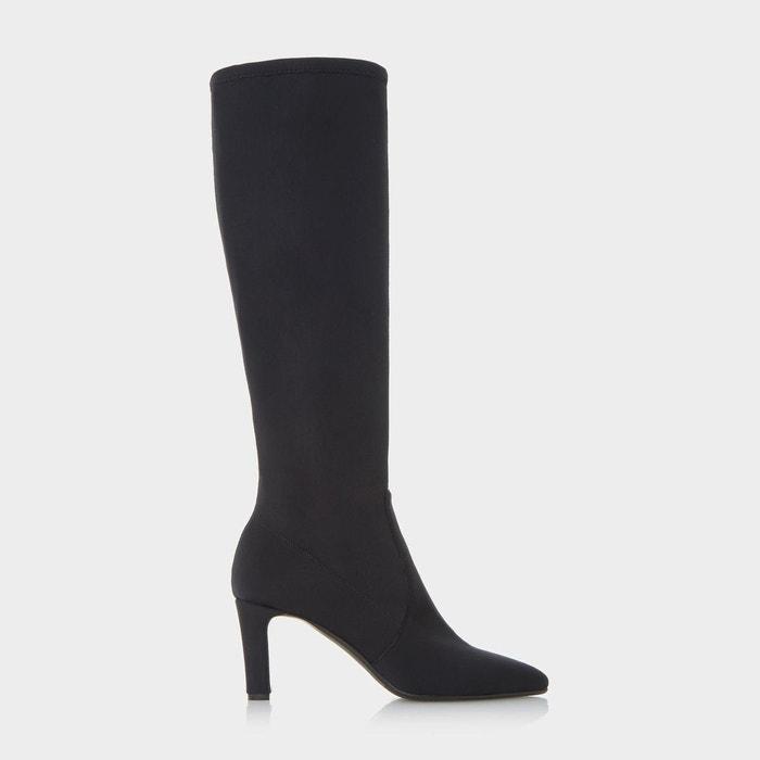 Bottes au genou ajustées en néoprène stretch - sabian noir tissu Dune Black