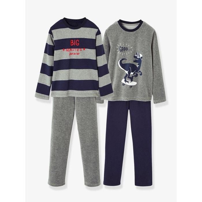 e42e799a2440a Lot de 2 pyjamas bi-matière garçon combinables gris foncé chiné Vertbaudet