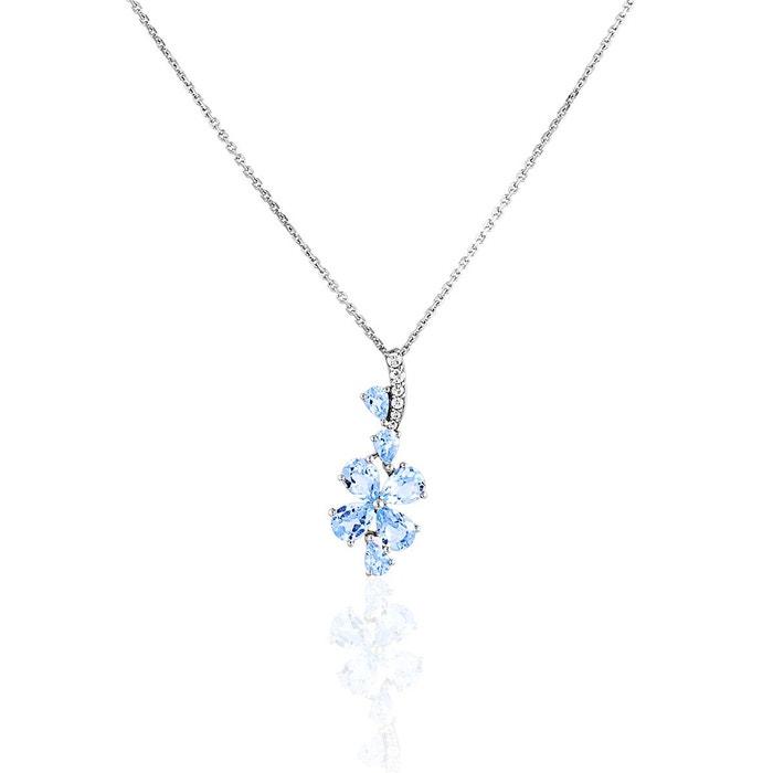 Collier en or 375/1000 blanc, topaze bleue et oxyde bleu Cleor | La Redoute