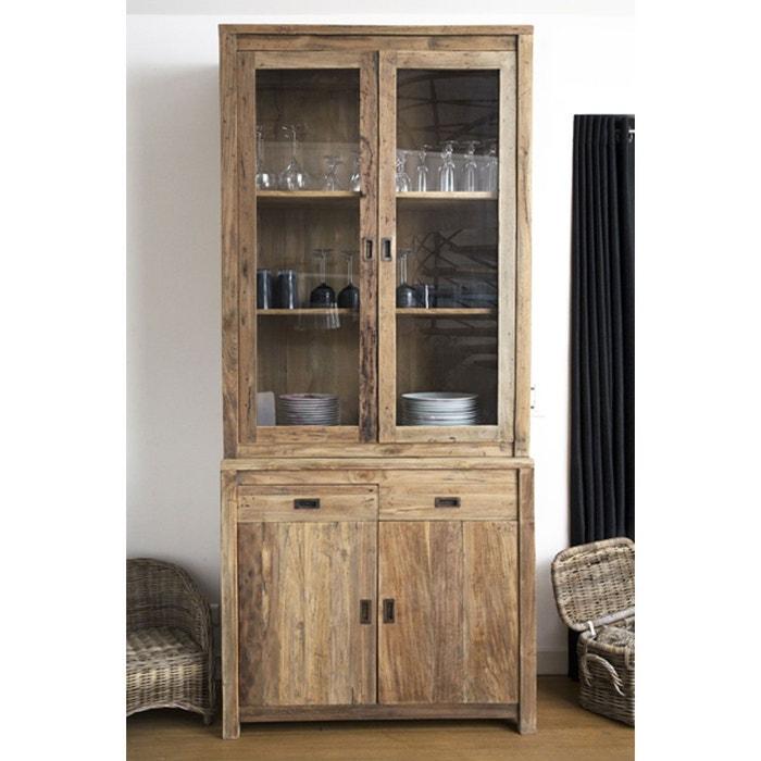 Vitrine / Vaisselier en bois de TECK RECYCLE - 4 portes battantes + 2 tiroirs BOIS DESSUS BOIS DESSOUS