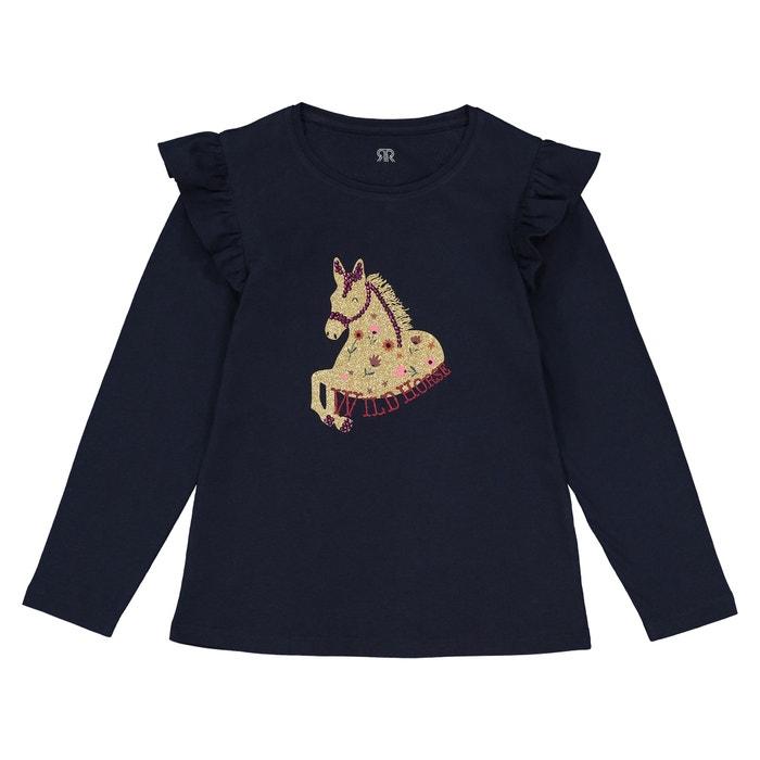 "T-shirt maniche lunghe ""pony paillettes"" 3 - 12 anni  La Redoute Collections image 0"