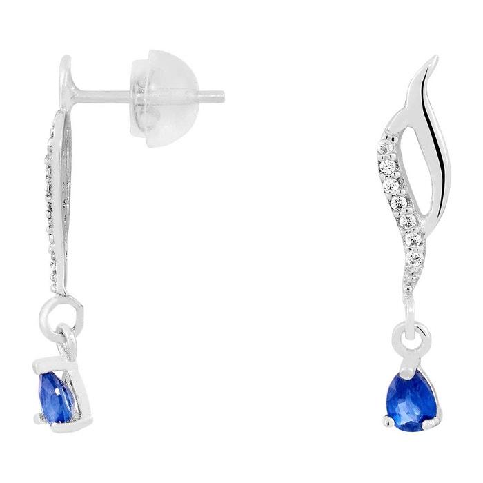 Boucles d'oreilles en or 375/1000 blanc, saphir bleu et oxyde bleu Cleor | La Redoute