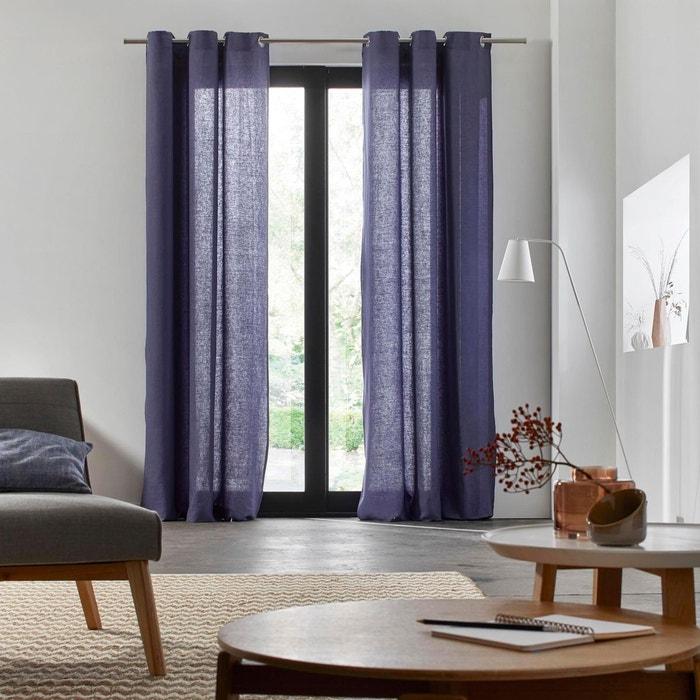 rideau oeillets lin carlina bleu nuit bleu nuit madura la redoute. Black Bedroom Furniture Sets. Home Design Ideas
