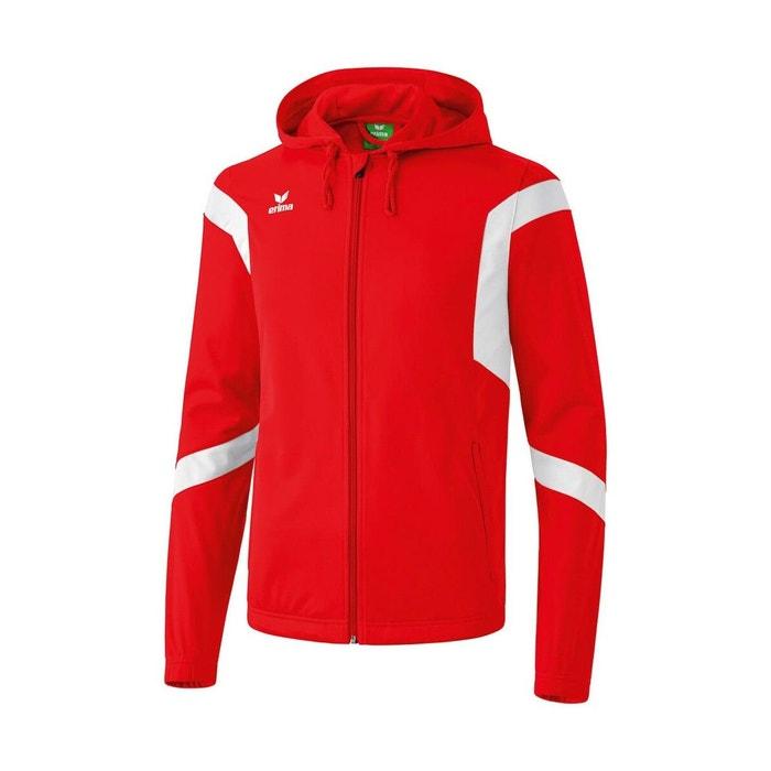 67a0aaa772540 Veste d'entraînement classic team avec capuche rouge/blanc Erima ...