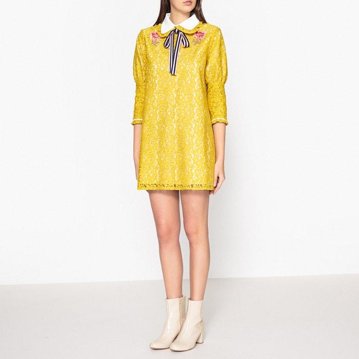 kurzes kleid mit spitze uni gelb sister jane la redoute. Black Bedroom Furniture Sets. Home Design Ideas
