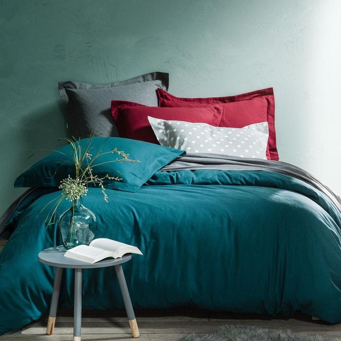 Plain cotton flannel duvet cover scenario la redoute for Drap housse en flanelle