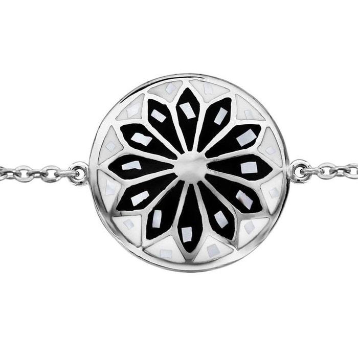 Bracelet longueur réglable: 16 à 19 cm motif rond fleur noire & blanche nacre blanche acier inoxydable couleur unique So Chic Bijoux | La Redoute Jeu 2018 Unisexe Jeu Ebay combien R2SvS