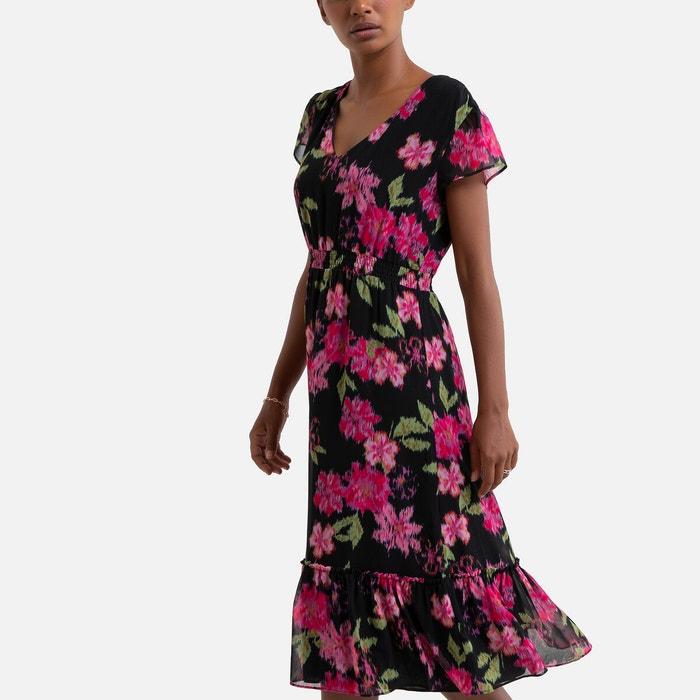 Robe Longue Fleurie Manches Courtes Imprime Fleurs Noir Sud Express La Redoute