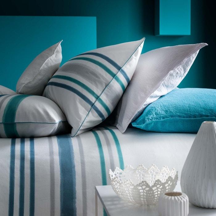 housse de couette imprim e en percale bleu caraibes bleu. Black Bedroom Furniture Sets. Home Design Ideas