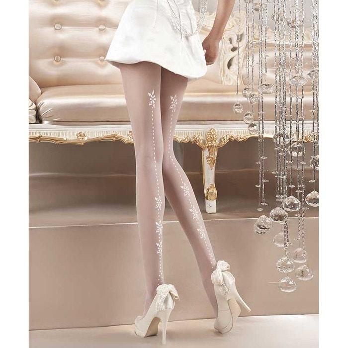Collant lycra motif floral et pointillé 20d blanc Ballerina  cf1b483610c