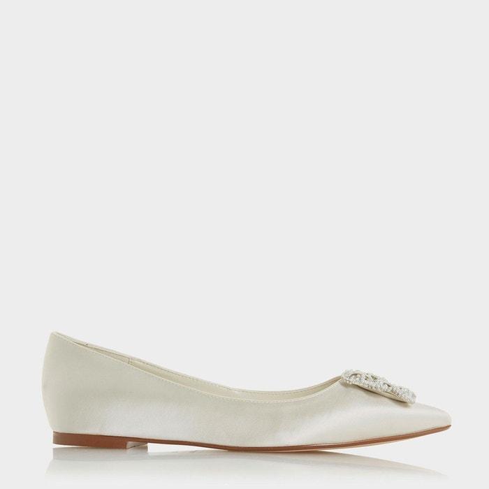 Brielee - point toe flat shoe  ivoire satin Dune London  La Redoute