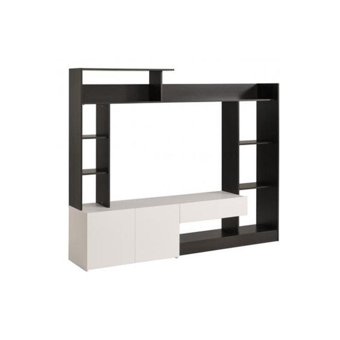 meuble tv avec paroi et rangements caf blanc becoffy declikdeco image 0