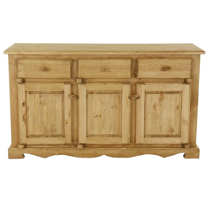 meuble bas rustique en pin massif 3 portes 3 tiroirs avec charni res bois farmer teint miel. Black Bedroom Furniture Sets. Home Design Ideas