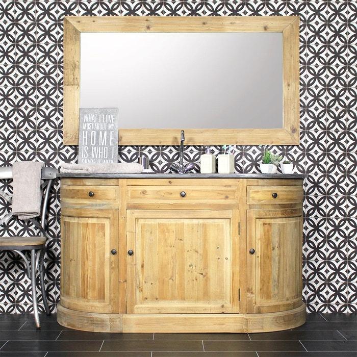 Meuble de salle de bain pin recycl plateau pierre for Meuble salle de bain pierre naturelle