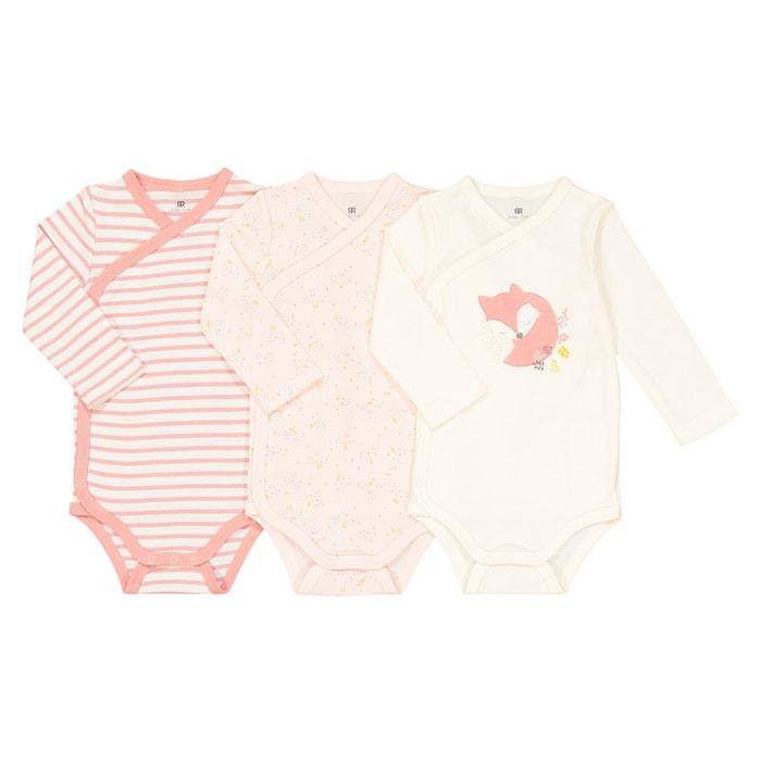 9689da4c0b137e Lot de 3 bodies naissance en coton bio préma-2 ans La Redoute Collections  blanc rose imprimé   La Redoute