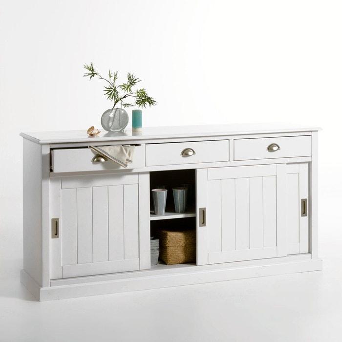 Buffet 3 portes 3 tiroirs pin massif inqaluit blanc la - Bahut portes coulissantes ...