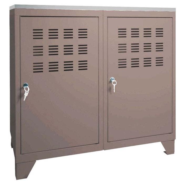 armoire de rangement m tal 2 portes gris pierre henry la. Black Bedroom Furniture Sets. Home Design Ideas