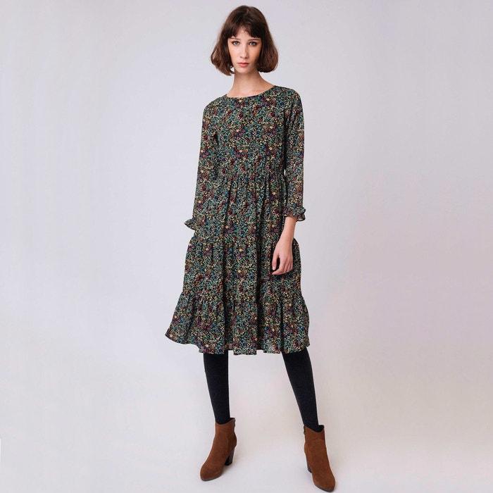 Платье расклешённое с цветочным рисунком, длина 3/4