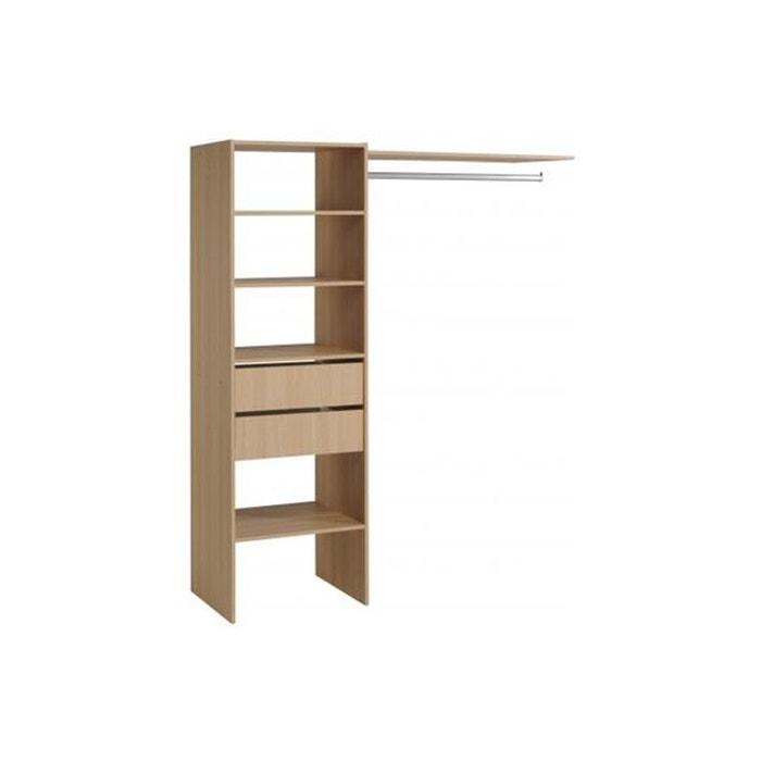 penderie avec tag re et 2 tiroirs de rangement couleur bois marron declikdeco la redoute. Black Bedroom Furniture Sets. Home Design Ideas