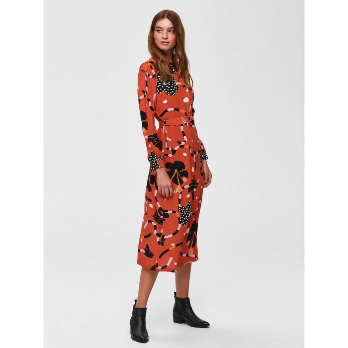 05f39294315f Robe mi-longue imprimé - marron-mango Selected Femme