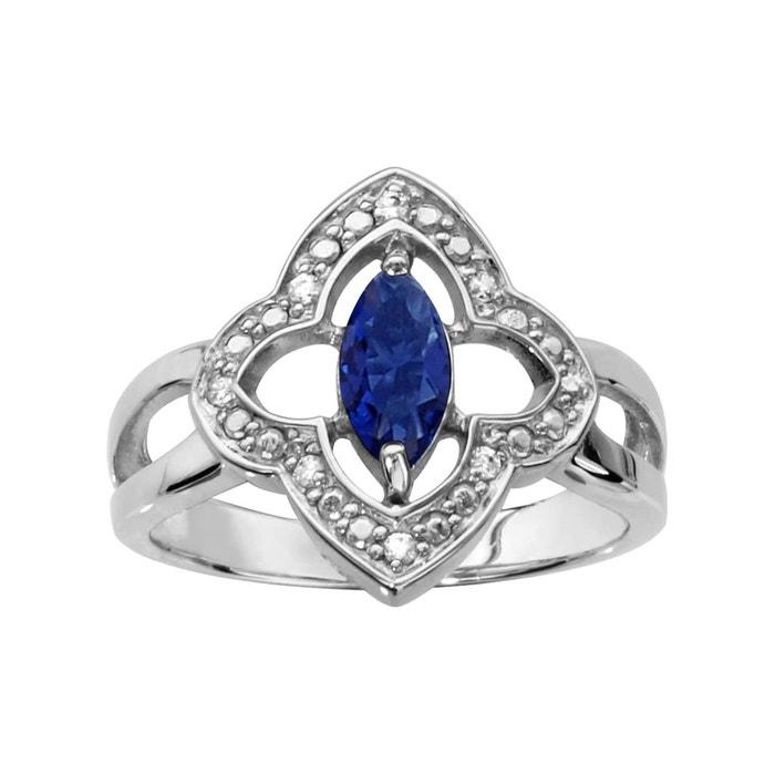 Bague fleur oxyde de zirconium blanc navette bleue argent 925 couleur unique So Chic Bijoux | La Redoute acheter Choix De La Vente NXTOZ