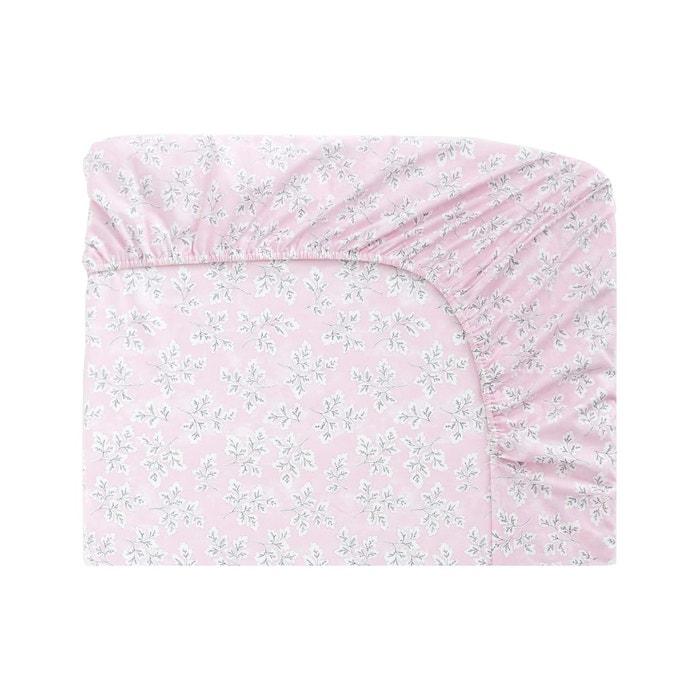 Drap housse meadow leaf en coton rose rose designers guild - Drap housse grande taille ...